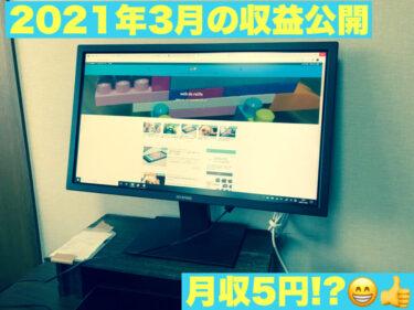 【2021年3月の収益報告】月収5 円!!2つのサイトで収益up?!【9カ月目】